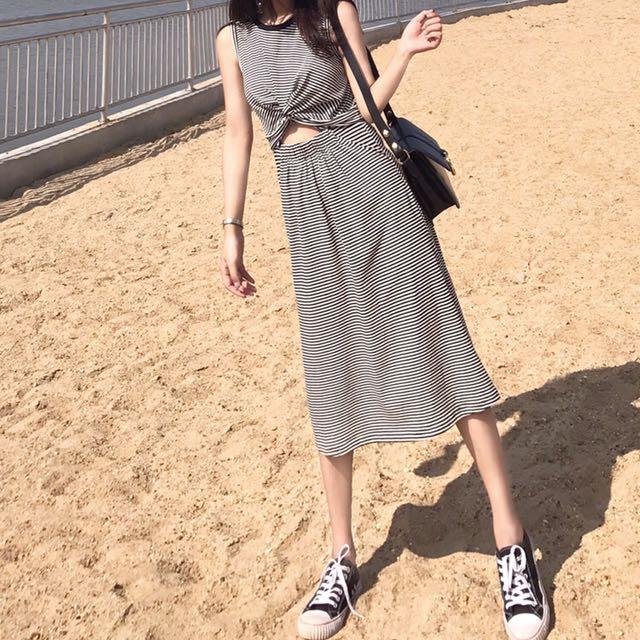 韓版無袖黑白條紋收腰裙