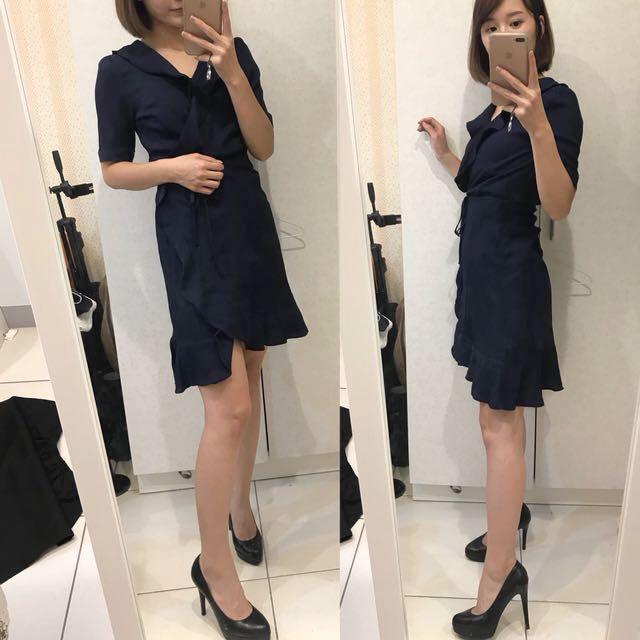 全新 正韓 深藍色顯瘦荷葉邊一字裙洋裝