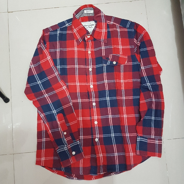 Abercrombie & Fitch Flanel Tartan Red Blue Shirt