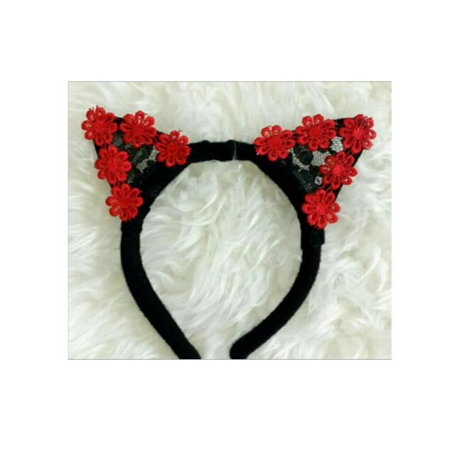 Bando Kucing Lace + Bunga