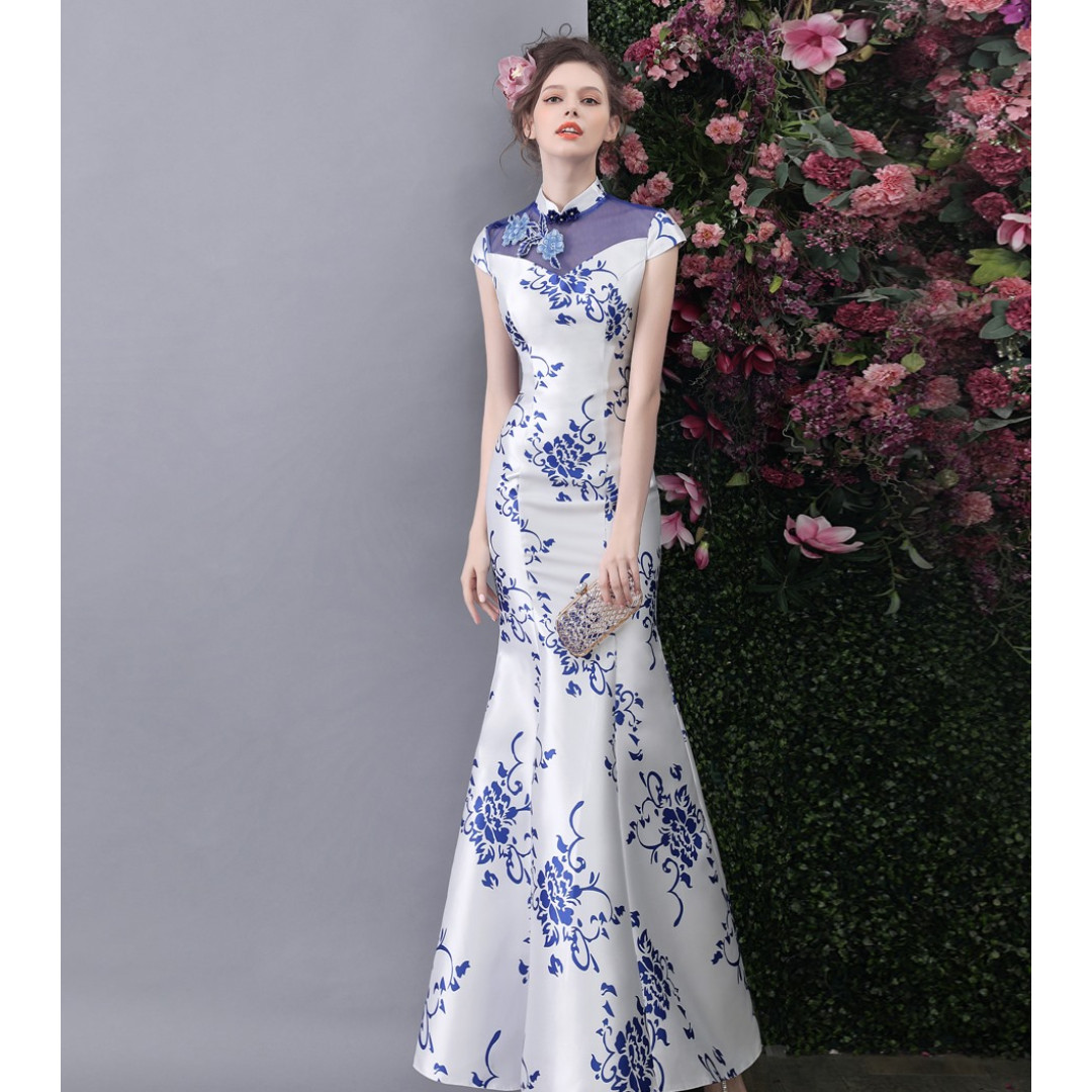 Beautiful Mermaid Wedding Gown Qipao Tea Ceremony Gown Dress Wedding Cheongsam Modern Cheongsam
