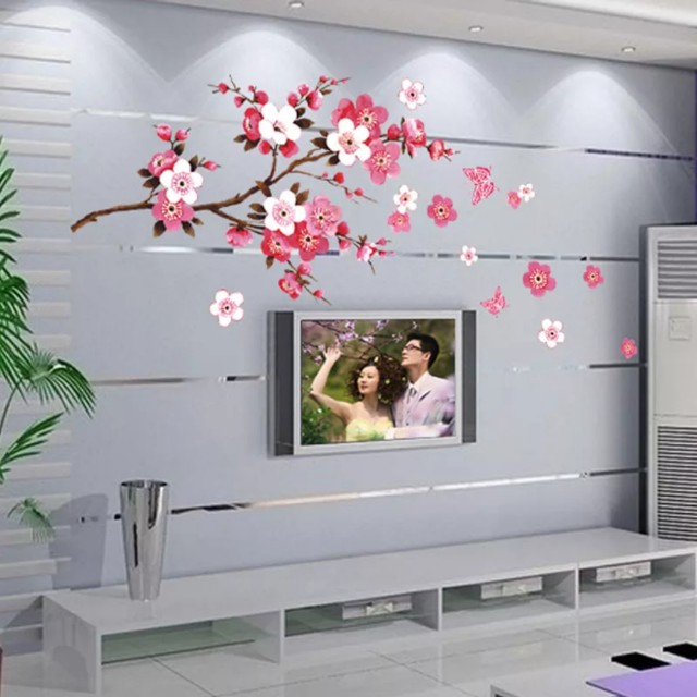 Instock Beautiful Sakura Wall Stickers Living Room Sofa Background - Wall stickers for bedrooms interior design