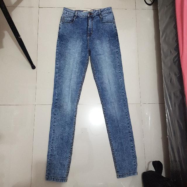Bershka Denim Washed Blue Jeans