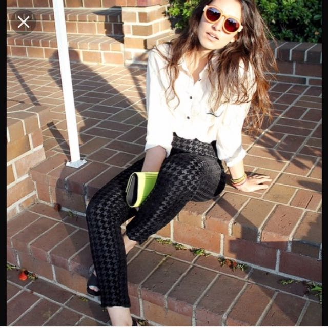 Black American Apparel Houndstooth High Waisted Pants