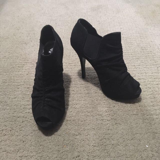 Black Sued Peep Toe Heels