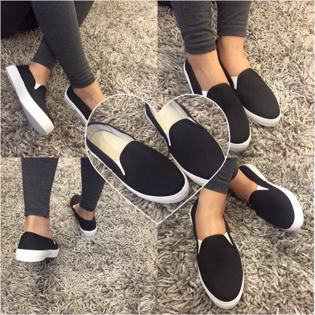 blck and white slip on canvas shoes