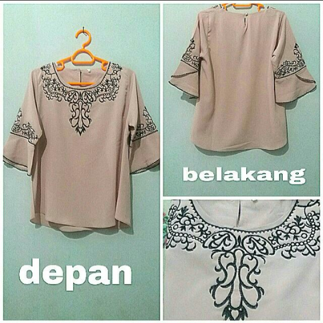 Blouse Peach Embroidery