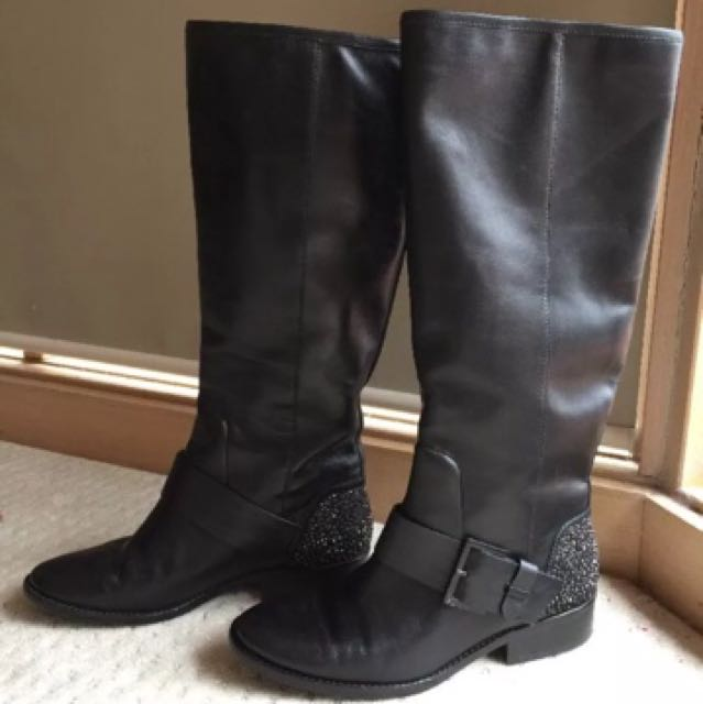 Brian Atwood designer studded black leather knee high Boots 8.5 39 EUC