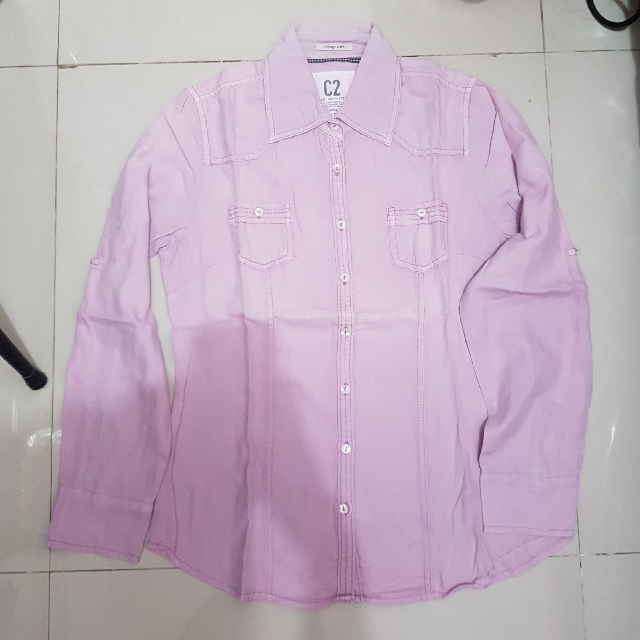 C2 Basic Outfitter Purple Shirt Kemeja Ungu