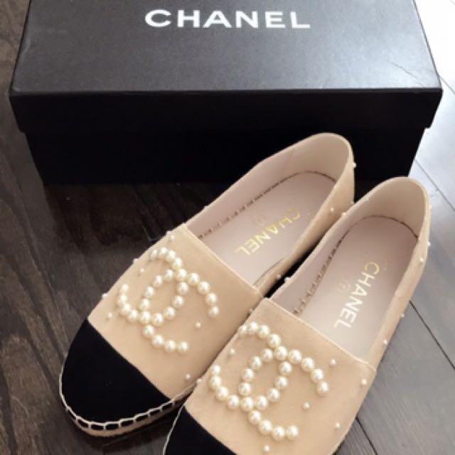 Chanel Calfskin & Pearl Espadrilles