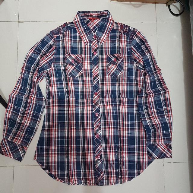 Connexion Tartan Cotton Shirt Kemeja Kotak Kotak