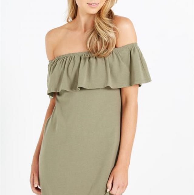 d603d22f4dca COTTON ON KHAKI OFF SHOULDER DRESS