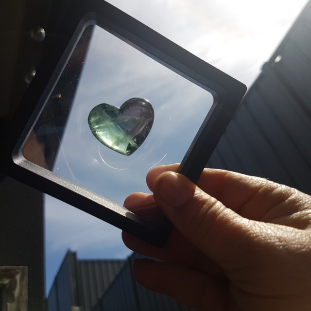 Framed fluorite crystal heart