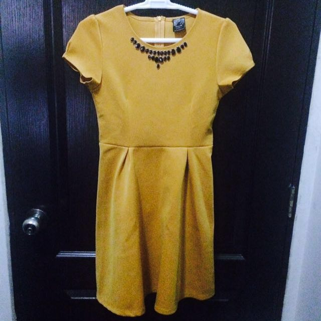 Freeway Fit & Flare Mustard Dress with Neckline Detail