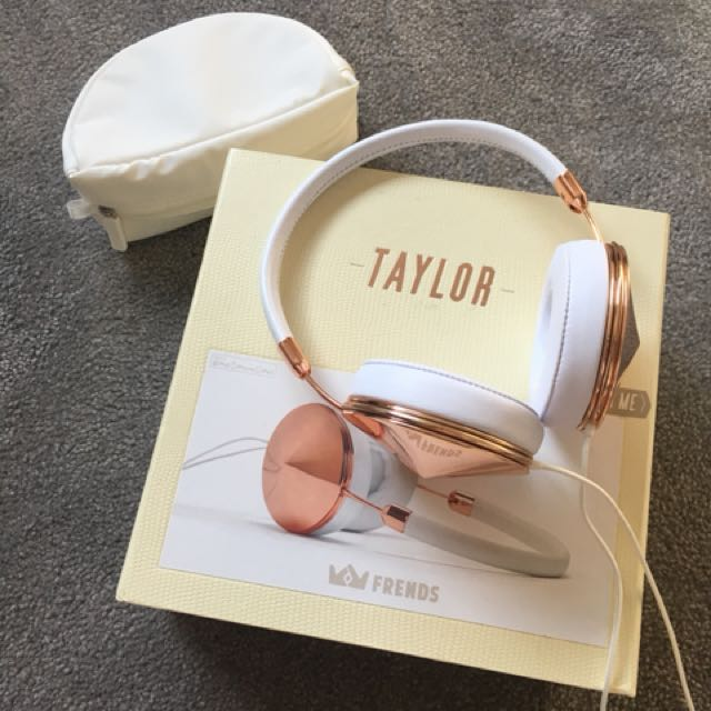 Frends Taylor Rose Gold & White headphones