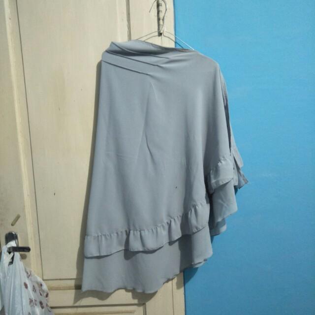 Hijab ruffle gray syari