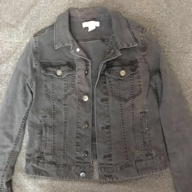 H&M Dark Gray/Black Denim Jacket