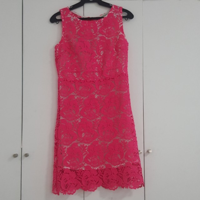 HOT PINK LACE DRESS WITH SCALLOPED NECKLINE SMALL/MEDIUM