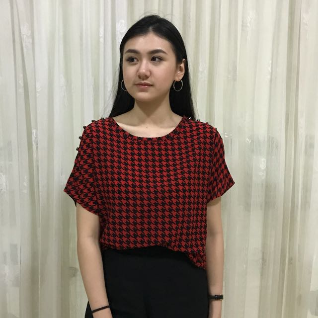 Houndstooth Studded Blouse