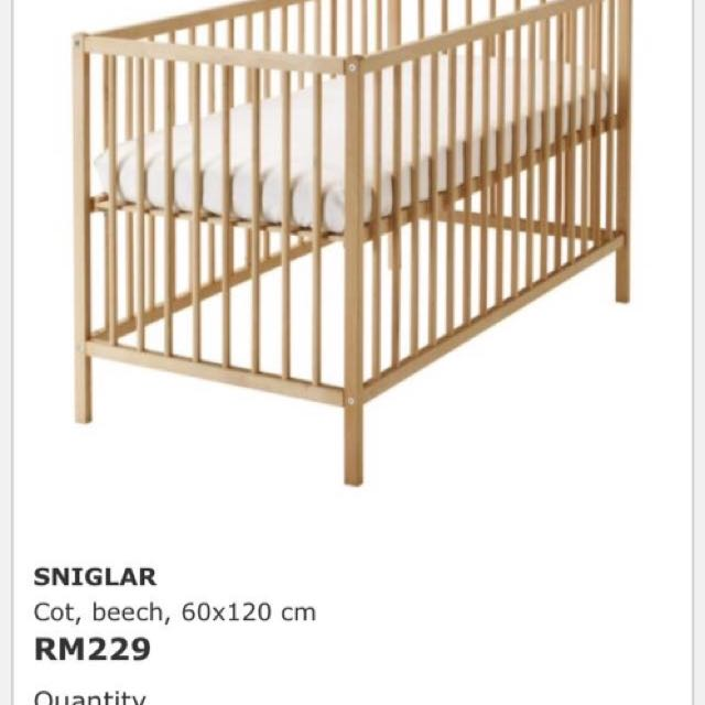 Ikea Sniglar Wood Baby Cot Katil Bayi Home Furniture On Carou