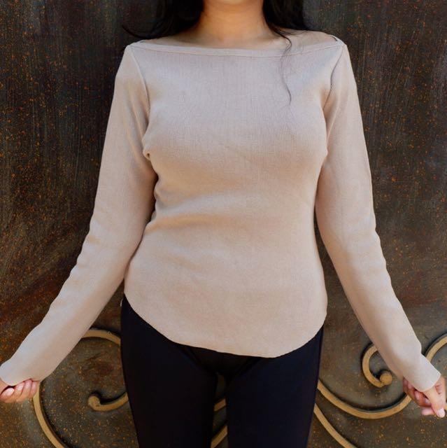 khaki knit top