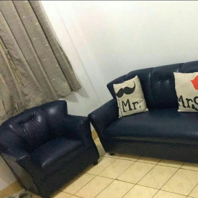Leather sofa set navy blue