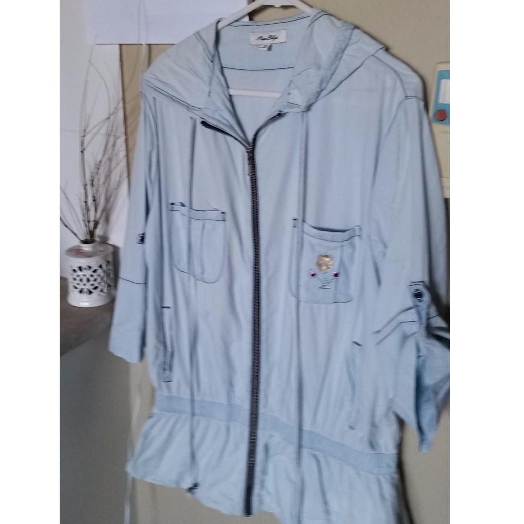 Long light weight denim hooded jacket retro all-match jacket for ladies