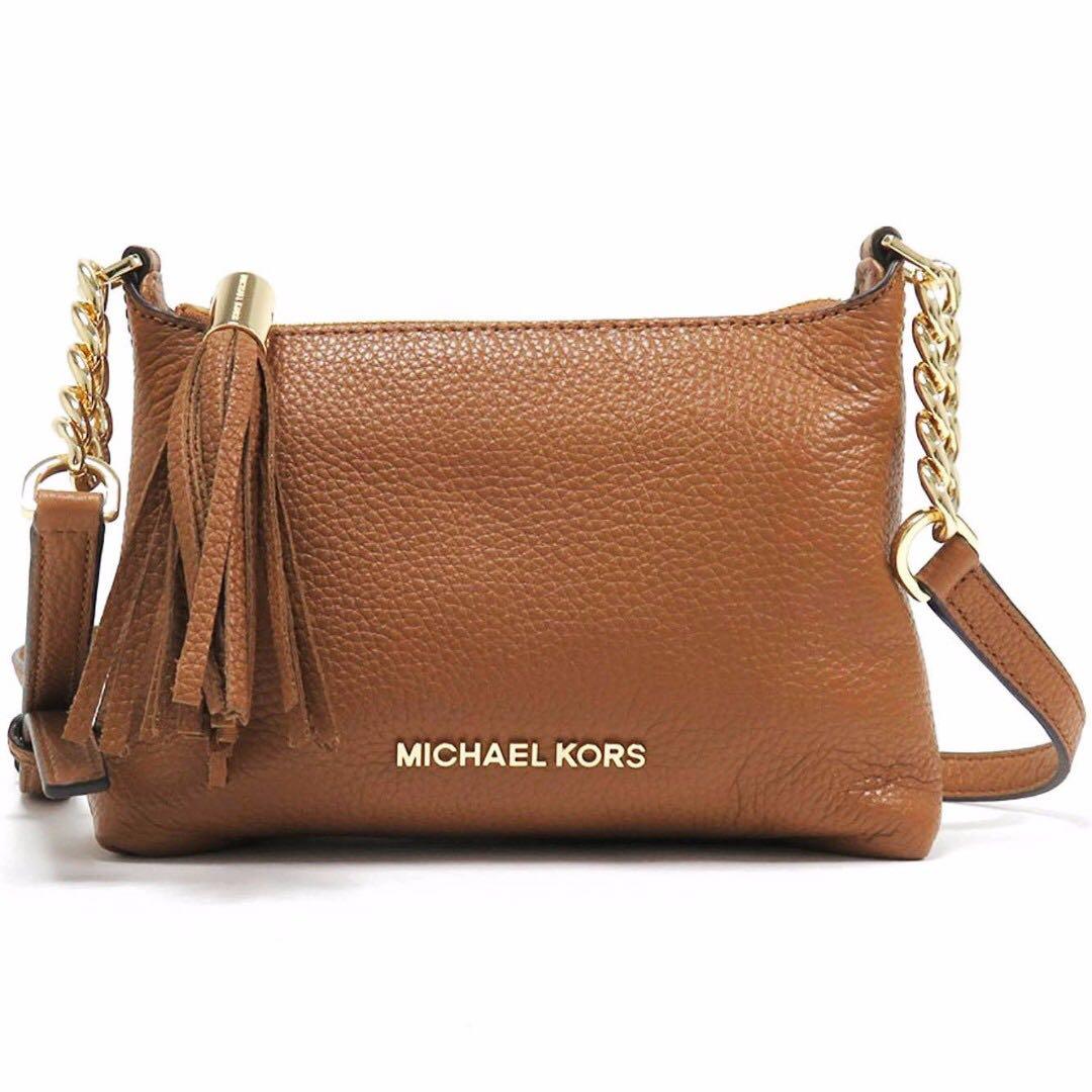 ad1e963dd4df Michael Kors Bedford Leather Crossbody Sling Messenger Bag Acorn ...