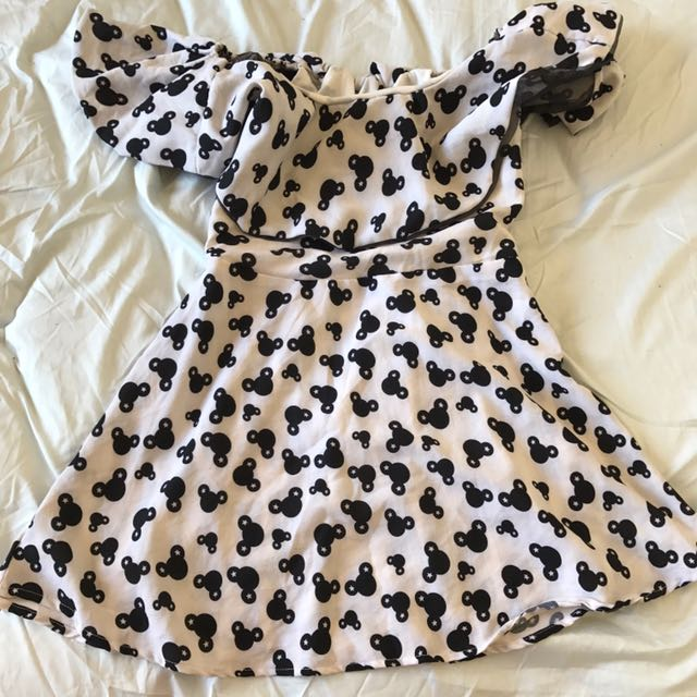 Mickey Mouse white off shoulder dress