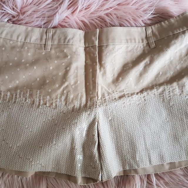 Mix Sequined Tan Shorts sz 18