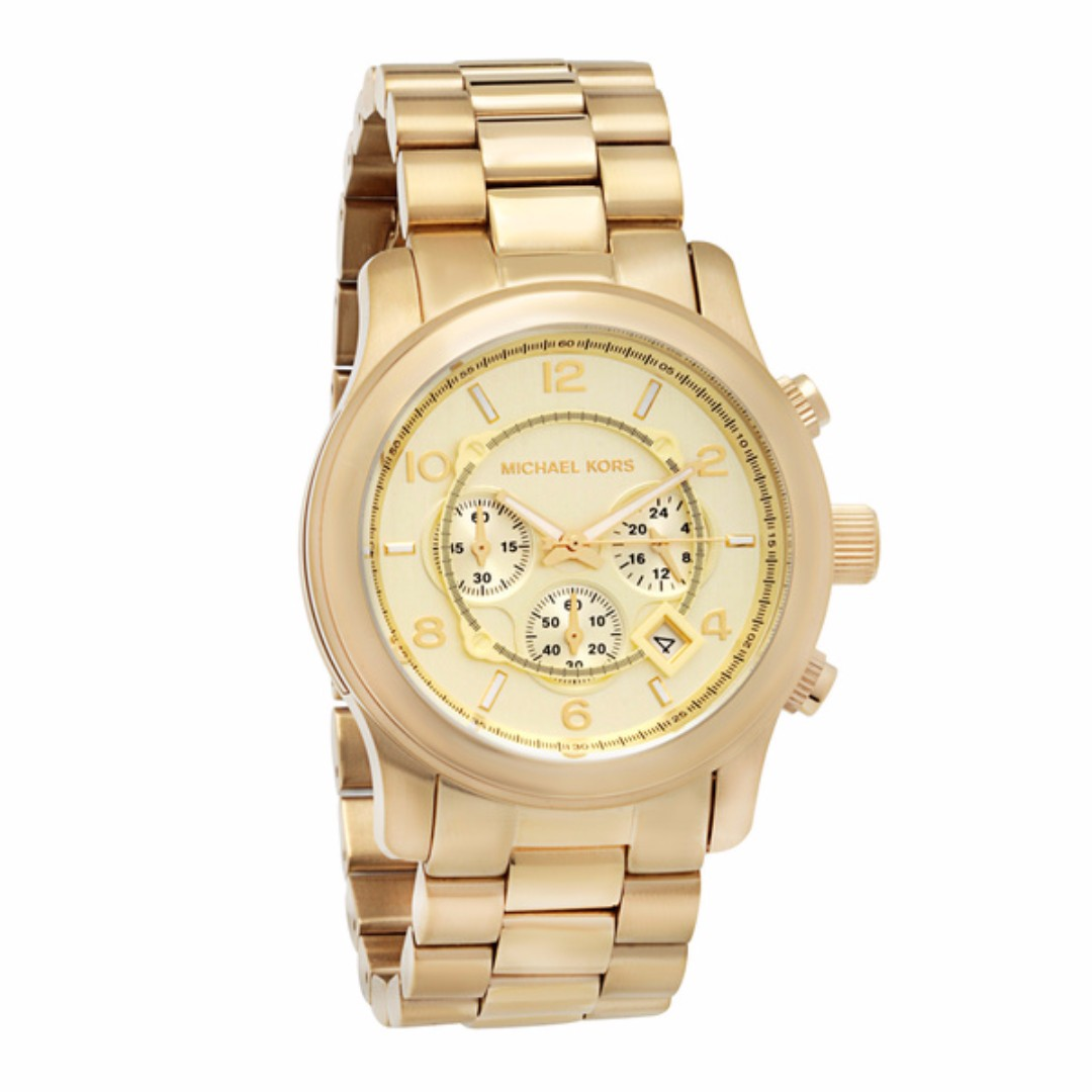 MK8077 - Michael Kors Runway Gold-Tone Dial SS Chronograph Quartz Womens Watch