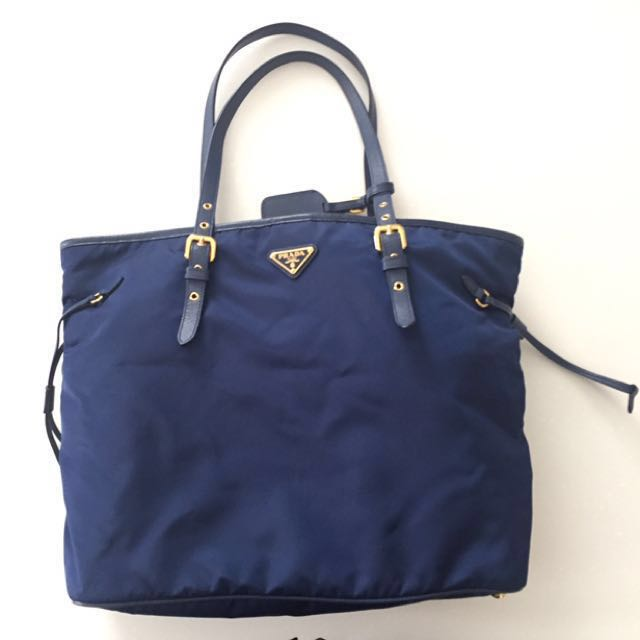 a0d57171e7e0 ... order navy blue prada tessuto saffiano nylon tote bag luxury bags  wallets on carousell d2431 c6d21