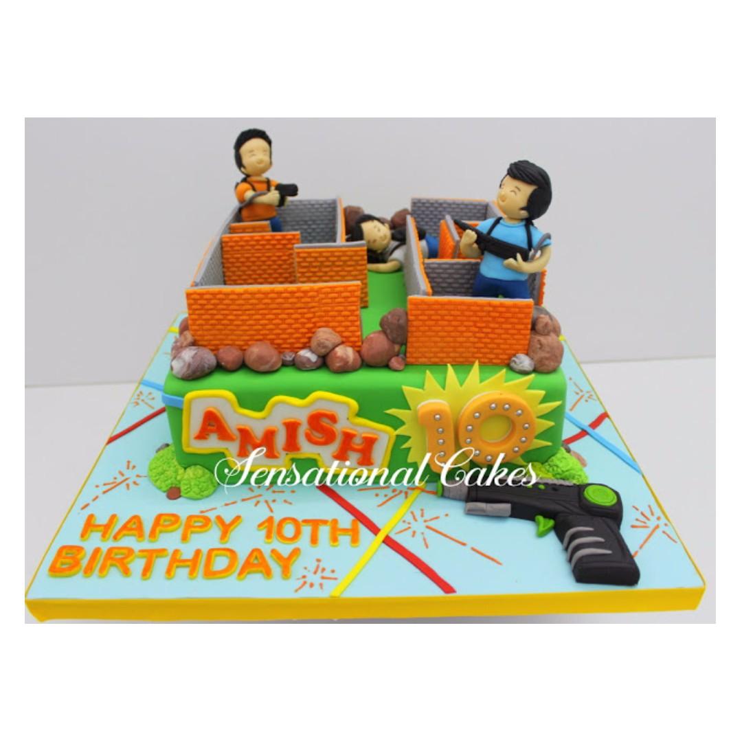 Outstanding Nerf Gun Theme Birthday Cake Singapore Laser Tag Theme Birthday Funny Birthday Cards Online Inifofree Goldxyz