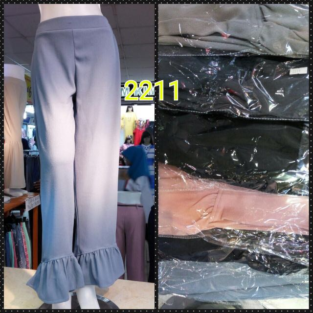 Pants#02211 (Abu Tua, Navy Blue, Hitam) Free Size Pinggang Full Karet Fit To L (Max LP 90cm)