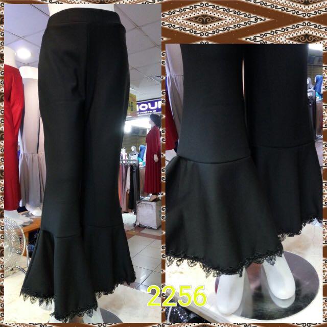 Pants #02256 (Hitam) Free Size Pinggang Full Karet Fit To L (Scuba Import)
