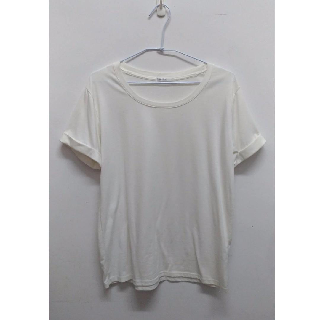 Queenshop白色微透捲袖上衣(另有黑色)