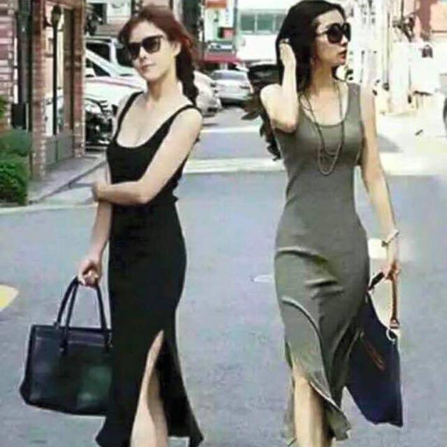 Sleeveless Long Dress With Slit