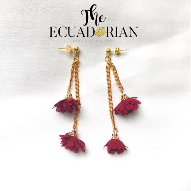 Stud Flower Chain Earrings