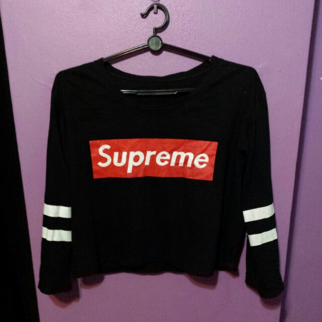 962fe8dc Supreme Long Sleeve Crop Top, Women's Fashion, Clothes, Tops on Carousell