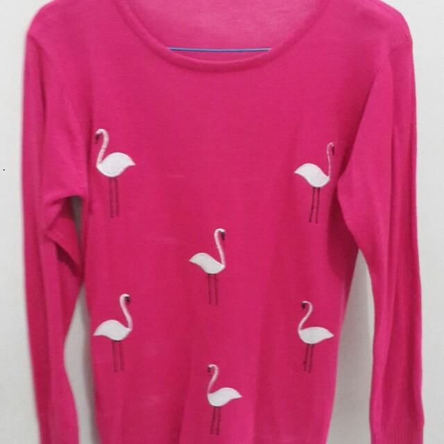 Sweater rajut angsa pink