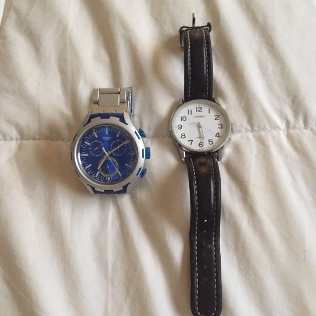 Swiss (Blue, Aluminium) And Casio Watch (White)
