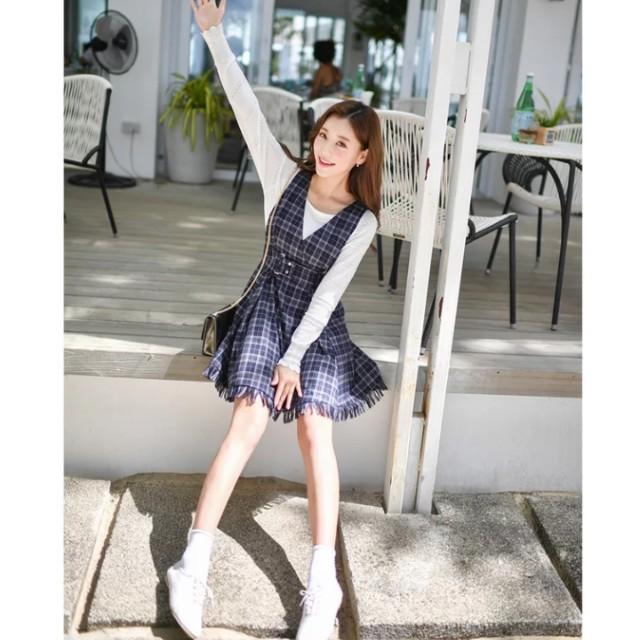 學院風復古風腰身顯瘦v領格子吊帶裙 #交換最划算
