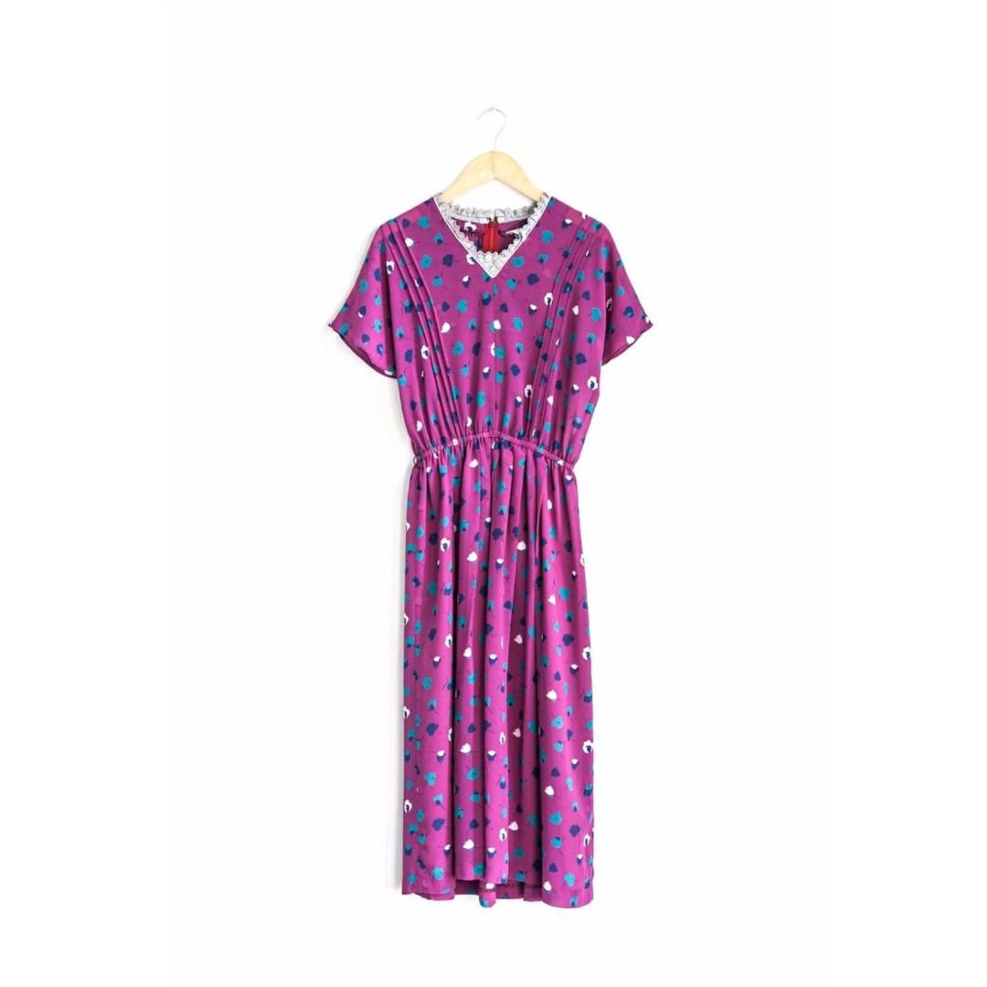 桃紫紅藍白點點蕾絲V領日本古著洋裝  vintage  特殊色