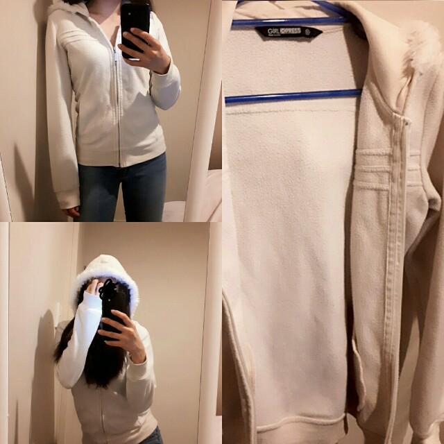 White fleece hoodie