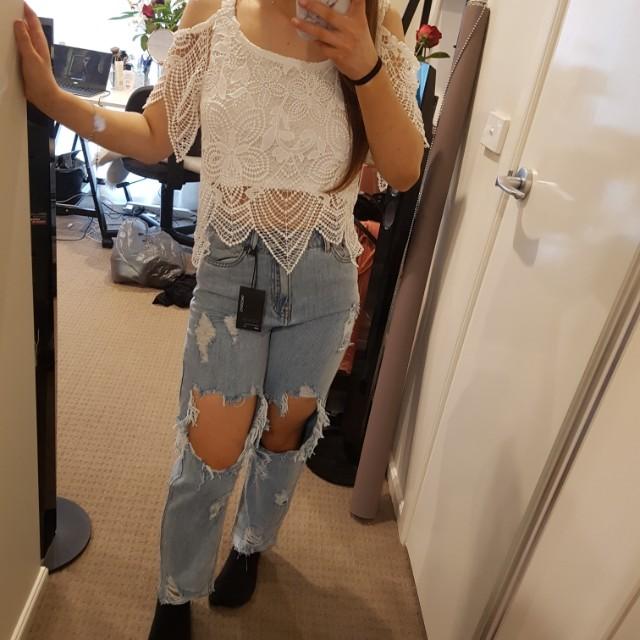 White lace crop valleygirl