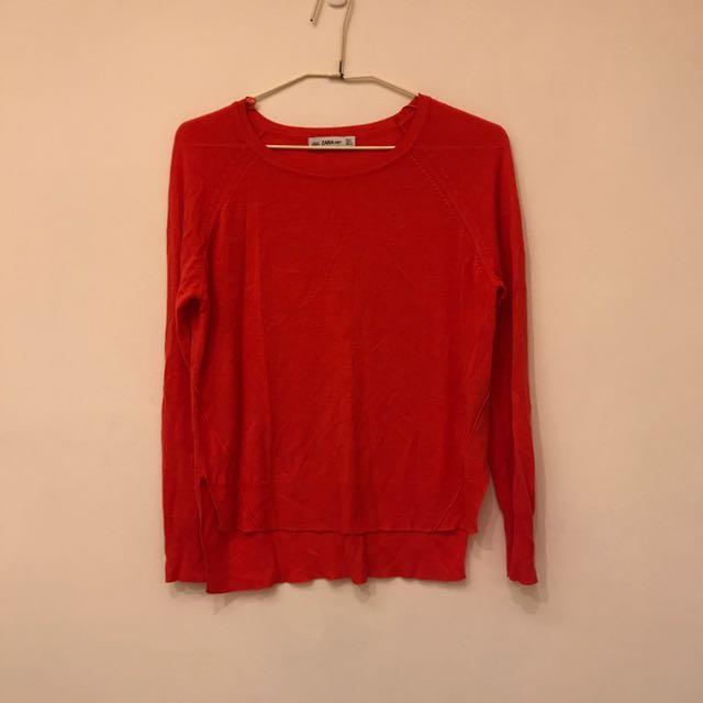 Zara亮橘紅色針織衫