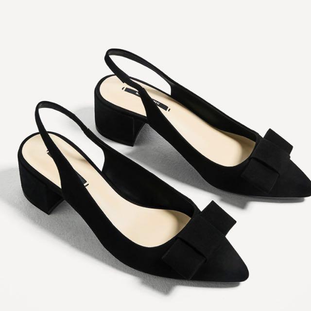 Zara block heels backless shoes