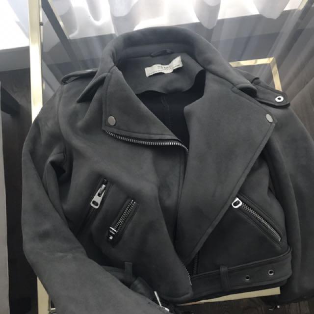 Zara vegan suede leather jacket