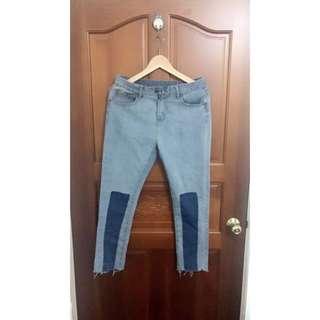 色塊刷色牛仔長褲