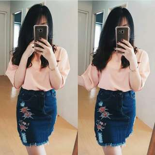 Ripped patched denim skirts